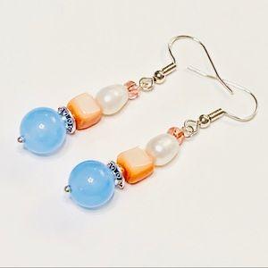 Freshwater Pearl & Chalcedony Earrings